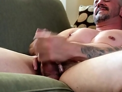 Smooth chest joyful daddy masturbates alone