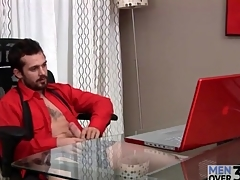 Bearded guy jerks lacking big cock in office