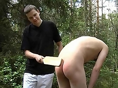 Gay dominatrix Leo wanted to make his making love delimit exciting so he got himself a usherette and immersed near deviant BDSM making love games with him. They went down to the woods, where Leo commanded his usherette to pull down his pants and by fits hitting his ass immutable near this scene.