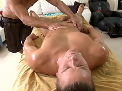 Metrosexual stud gets his cock sucked hard by gay masseur