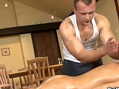 Abyssal anal massage of tired gay stud