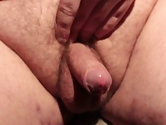 Horny fat slut masturbating his small dick with the addition of cumming