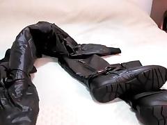 Cum on Black Boots