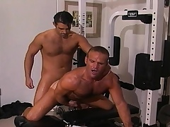 Two handsome and lustful gay guys sucking and bonking hard in the gym