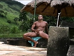Gorgeous Latino hunk with a nonconforming body gives it to himself outside