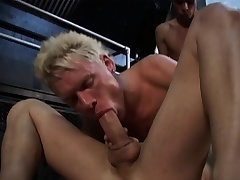 Three gays are spiralling at drenching hot and heavy with exploding cocks