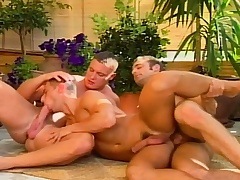 Hot merry studs in a threesome of low-spirited head and anal making love