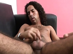 Hairy hunk Accentuation strokes his long prick until it bursts in pleasure