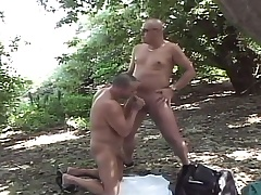Lustful elated dudes enjoying lots of sucking and fucking in the forest