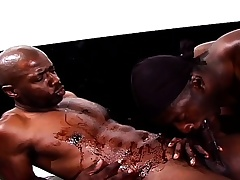 Black gay studs start alongside a rubdown coupled with move conquest ass banging
