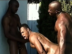 Three black studs close to frayed bodies engage up hot anal sexual relations by the pool