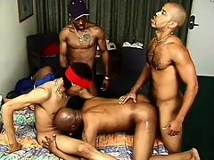 Gangbangers get douche on at near an orgy with a slutty sallow schoolboy