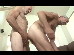 Superannuated haired gay daddies in anal roger video