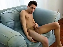 Eaten away underfed boy strips and strokes dick