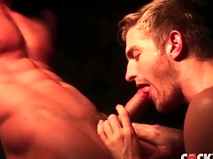 Steam room voiced copulation with two transparent hunks