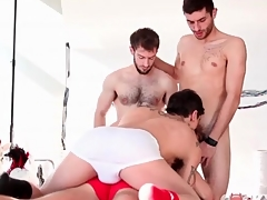 Kinky gay guys star back cocksucking foursome