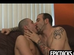 Three young gay dudes suck not susceptible big everlasting cocks