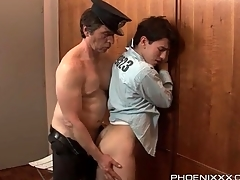 Oversexed guard gets his dick sucked by a prisoner
