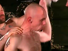 Flexible gay bottom toyed in his lubed ass