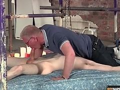 Gay old man blows a difficulty cute twink in bondage
