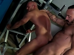 Locker room rimjob and anal with hot bears