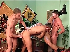 Anal group sex with indestructible body gay guys