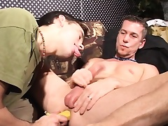 Submissive ray takes a big dildo up his butt and blows a soreness shaft