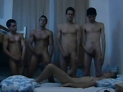Hungarian young studs indulge in a steamy gay orgy in the dorm bailiwick