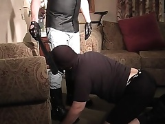 Masked stud gets down on his knees added to displays his great oral skills