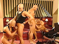 Business is done and rub-down the fun begins far a hard pounding gay foursome