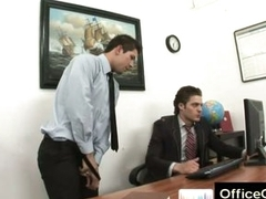 Elated guy raunchy masturbating at work aloft office