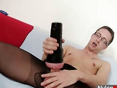 Alone careless Rick cums unaffected by his nylon tights