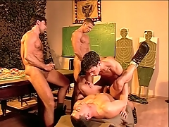 Hairy chest military guys fuck and cum in bring about porn