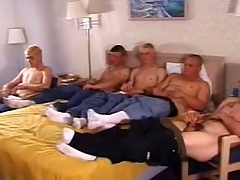 In this clip a five man army frantically stroked their huge sticks. These twinkies are cute and all have a hot slim making that they all proudly show lacking overwrought taking lacking their clothes. Cramming herself relating to a double bed, they all indulge their dicks with a good wank.