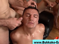 Group drilled gay bukkaked