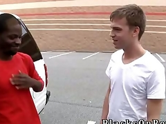 Big black stud Pleasure Boi joins us this week at BlacksOnBoys.com.  He was doing some shopping and found a cute, skinny twink named Cameron Davis. Matchless our luck Cameron was about to get off work and is willing to see what up.  Cameron admits he very nerv