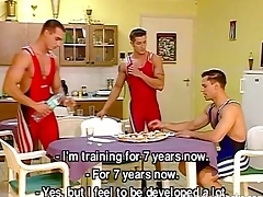 Cock-hungry wrestlers explanations a hot gay orgy