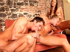 Several downcast guys and a downcast gal enjoying a worthwhile bisexual fuck !