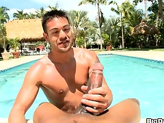 POV dick-sucking apart from the pool! Hard cumming and deepthroating