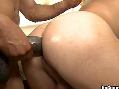 Bald whitey being impaled by a burly black Hawkshaw with irretrievable emphasize