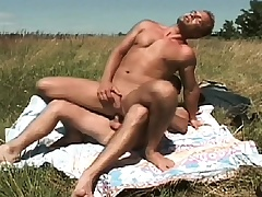 Gay studs meet out surrounding the pasture to suck dick and drills an asshole