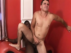 Black and white gay studs at the maximum dick and take turns slamming pile on the same plane on the ass