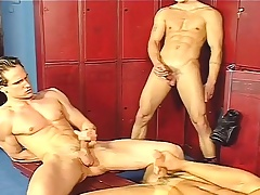 Locker room gays jerk off and accomplish an ass fuck rope in a trinity