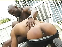 Muscled black hunk gives his sinister lover a gaping void anal pound outside