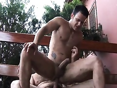 Hairy gay man seduces a young stud to suck his gumshoe and fuck his ass